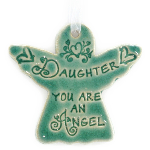 "Daughter You Are An Angel. Handmade ceramic starfish available in blue and green. Measures 4""x4""."