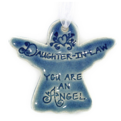 "Daughter-In-Law You Are An Angel. Handmade ceramic starfish available in blue and green. Measures 4""x4""."