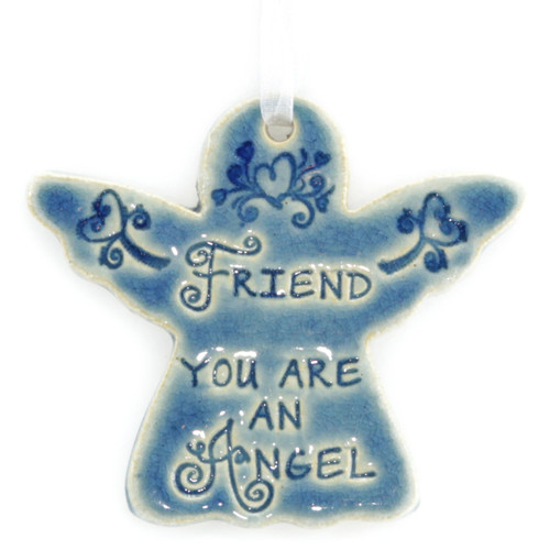 "Friend You Are An Angel. Handmade ceramic starfish available in blue and green. Measures 4""x4""."