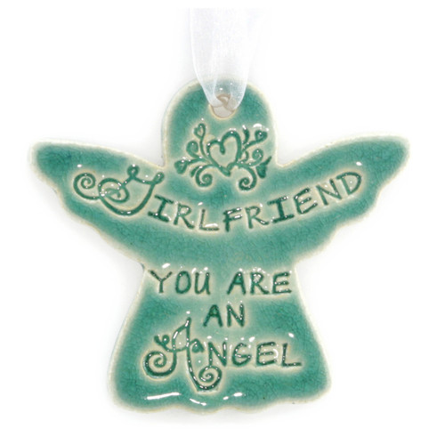 "Girlfriend You Are An Angel. Handmade ceramic starfish available in blue and green. Measures 4""x4""."