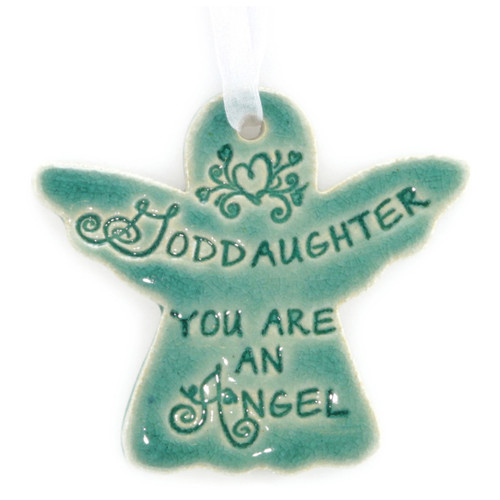"Goddaughter You Are An Angel. Handmade ceramic starfish available in blue and green. Measures 4""x4""."