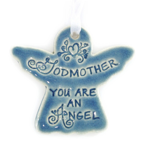 "Godmother You Are An Angel. Handmade ceramic starfish available in blue and green. Measures 4""x4""."