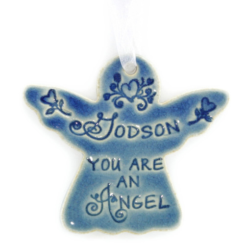 "Godson You Are An Angel. Handmade ceramic starfish available in blue and green. Measures 4""x4""."