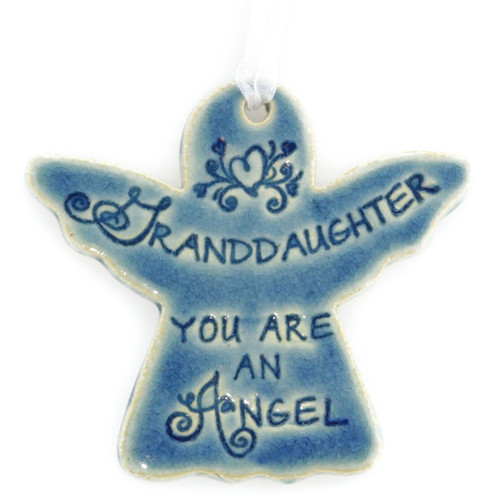 "Granddaughter You Are An Angel. Handmade ceramic starfish available in blue and green. Measures 4""x4""."