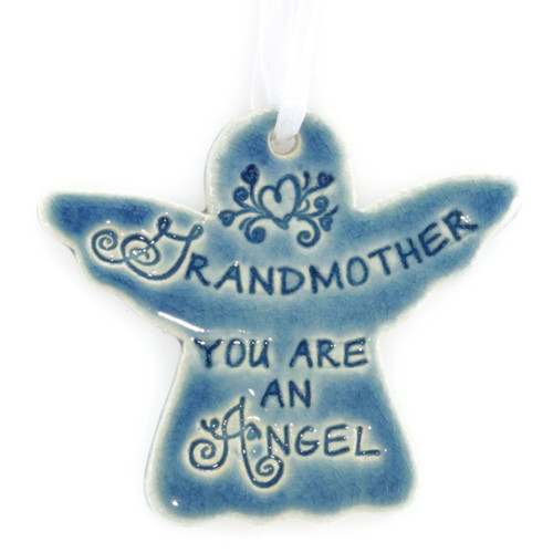 "Grandmother You Are An Angel. Handmade ceramic starfish available in blue and green. Measures 4""x4""."