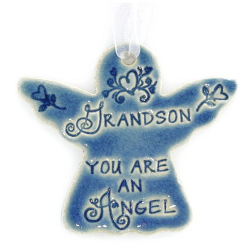 "Grandson You Are An Angel. Handmade ceramic starfish available in blue and green. Measures 4""x4""."