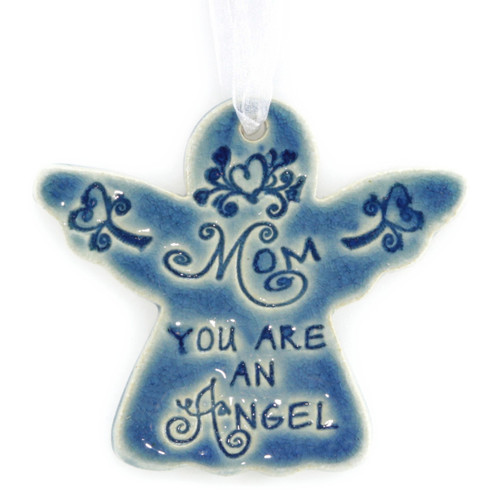 "Mom You Are An Angel. Handmade ceramic starfish available in blue and green. Measures 4""x4""."