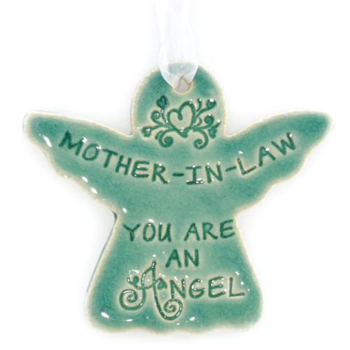"Mother-In-Law You Are An Angel. Handmade ceramic starfish available in blue and green. Measures 4""x4""."