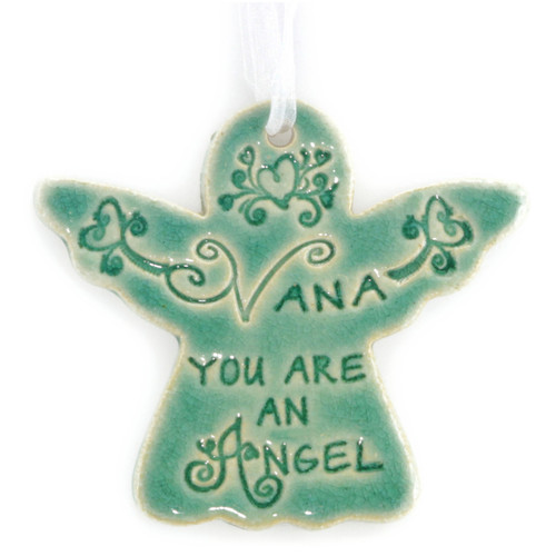 "Nana You Are An Angel. Handmade ceramic starfish available in blue and green. Measures 4""x4""."