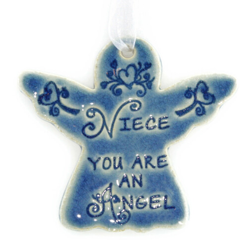 "Niece You Are An Angel. Handmade ceramic starfish available in blue and green. Measures 4""x4""."