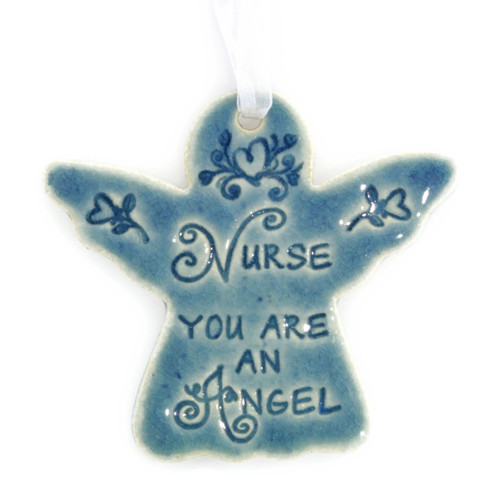"Nurse You Are An Angel. Handmade ceramic starfish available in blue and green. Measures 4""x4""."