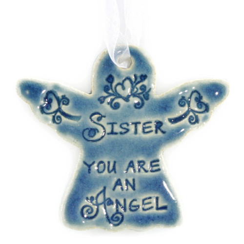 "Sister You Are An Angel. Handmade ceramic starfish available in blue and green. Measures 4""x4""."