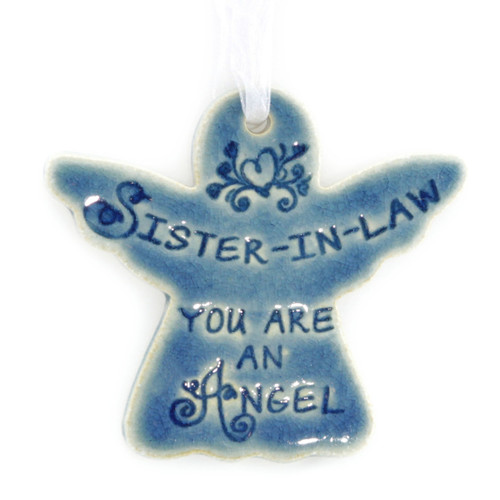 "Sister-In-Law You Are An Angel. Handmade ceramic starfish available in blue and green. Measures 4""x4""."