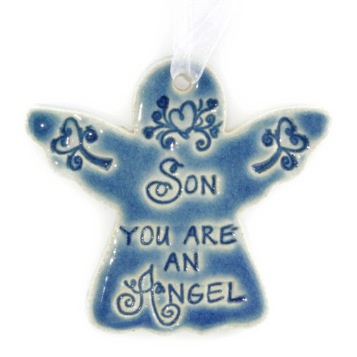 """Son You Are An Angel. Handmade ceramic starfish available in blue and green. Measures 4""""x4""""."""