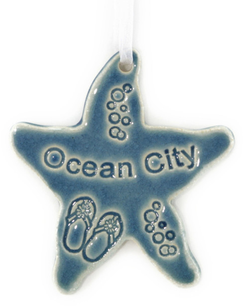 Handmade Ceramic New Jersey Shore Town Names Starfish. Available in Blue and Green. Size is 4x4x.25 inches.