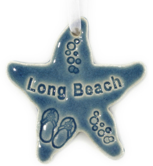 Handmade Ceramic Long Island Town Names Starfish. Available in Blue and Green. Size is 4x4x.25 inches.