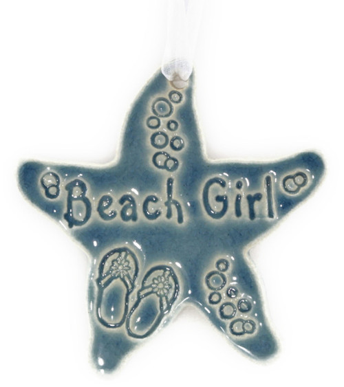 Beach Girl handmade ceramic starfish ornament in blue.
