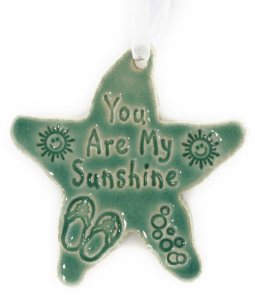 You Are My Sunshine handmade ceramic starfish ornament in Green.