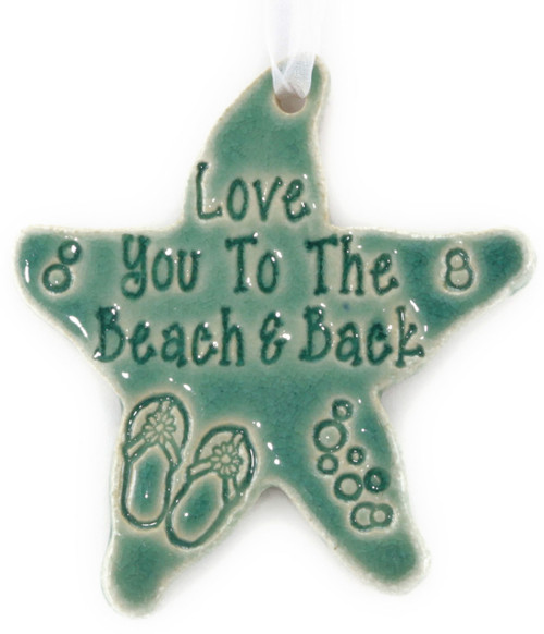 Handmade Love You To the Beach & Back Starfish Ornament in Green.