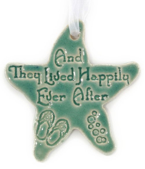 Handmade Ceramic And They Lived Happily Ever After ornament. Available in Blue and Green. Size is 4x4x.25 inches.