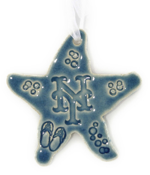 Handmade Ceramic New York Mets Baseball Team Starfish. Available in Blue only. Size is 4x4x.25 inches.