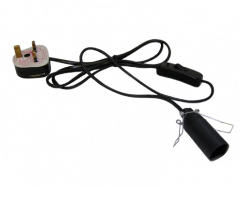 Lamp Lead - 3 Pin Plug - 1 meter cord 3 pin black power cord. Approx length: 1 metre These are ideal for our salt and selenite lamps.