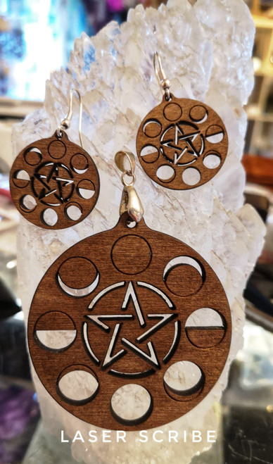 Pentagram Moon Phase Necklace and earrings