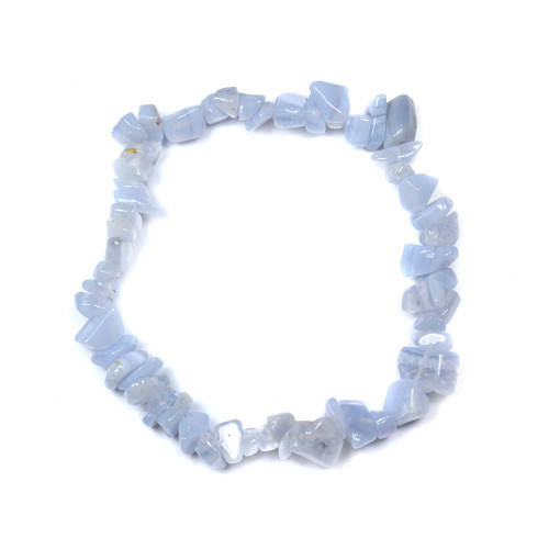 Blue Lace Agate Chip Bracelet 7.5""