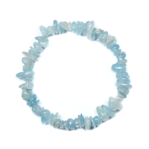 Aquamarine Chip Bracelet 7.5""