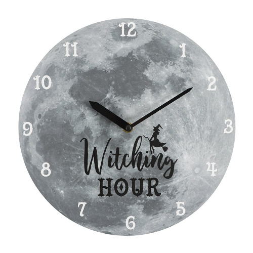 WITCHING HOUR MOON MDF CLOCK 28CM