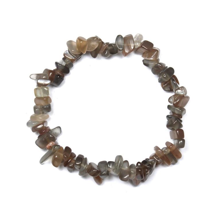 "Moonstone Brown Chip Bracelet 7.5"""