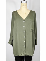 Made in Italy, sage big shirt, front