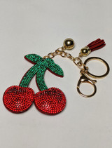 Rhinestone cherry key chain