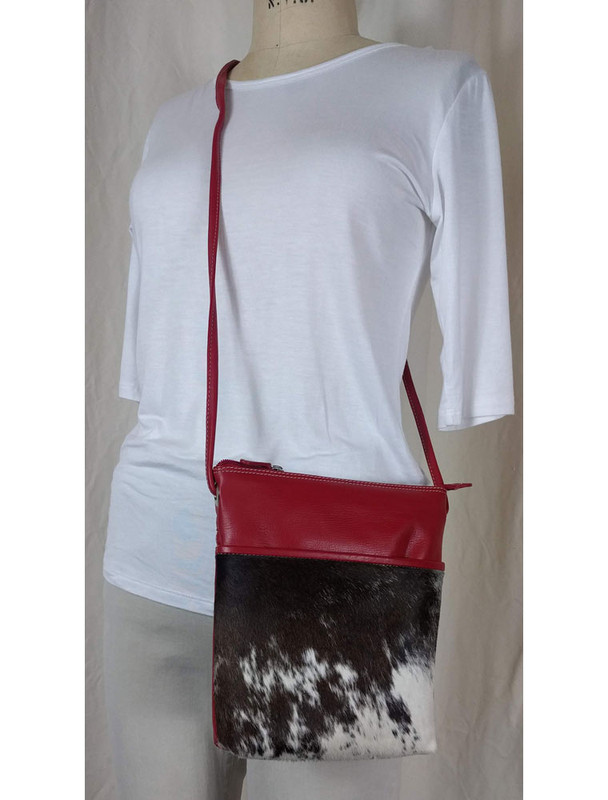 ILI Leather with Hair Crossbody Red Front