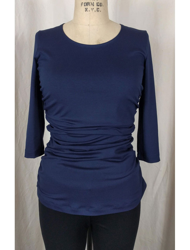 Navy Rusched Top Front