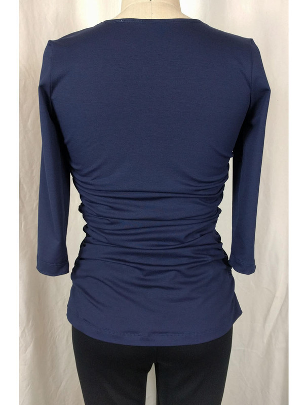 Navy Rusched Top Back