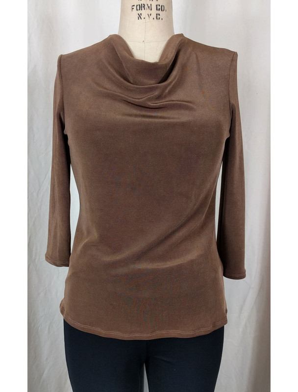 Slight Cowl Neck Top Caramel Front