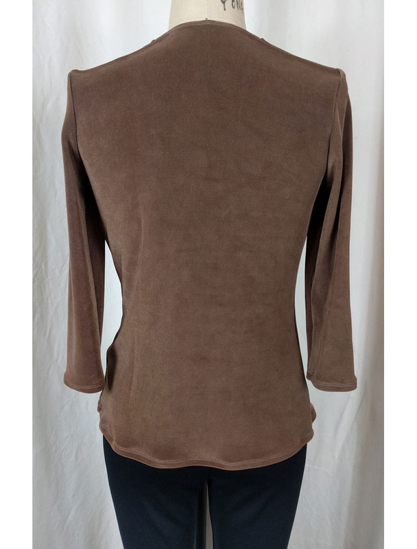 Slight Cowl Neck Top Caramel Back
