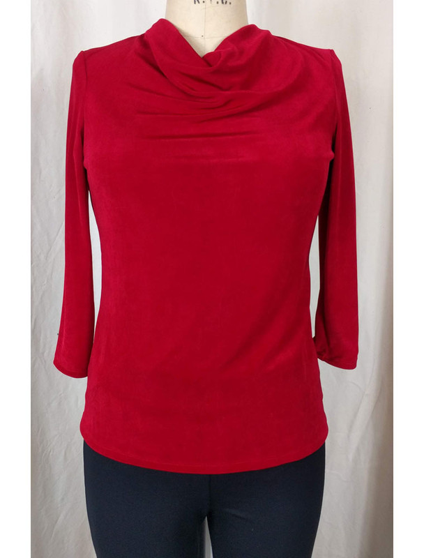 Slight Cowl Neck Top Red Front