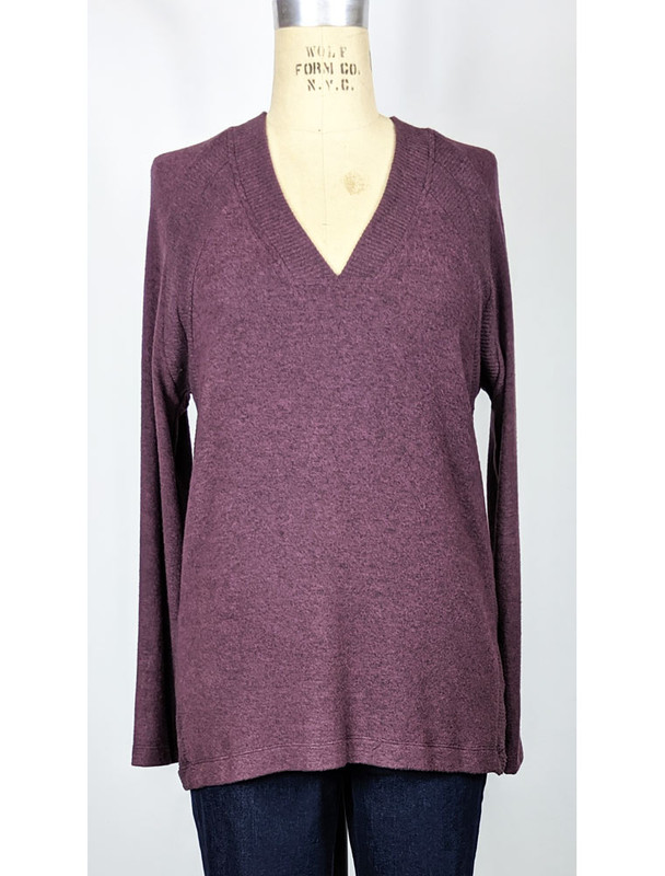 COA v-neck burgundy sweater, front