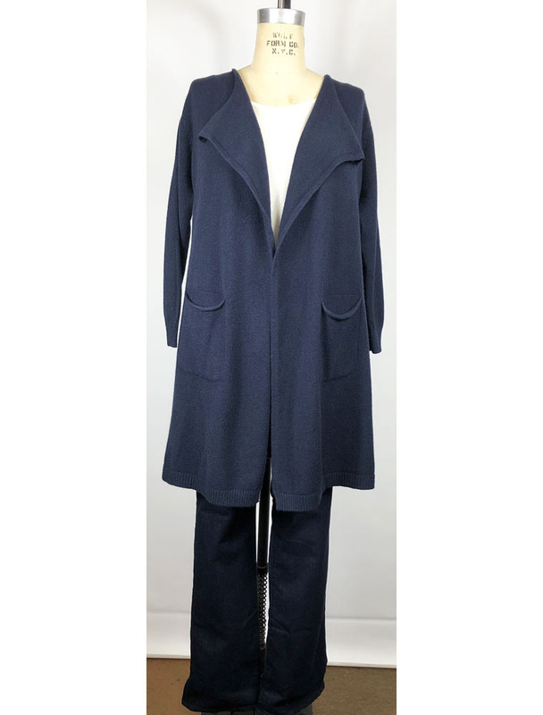 Made in Italy, navy long cardigan, front