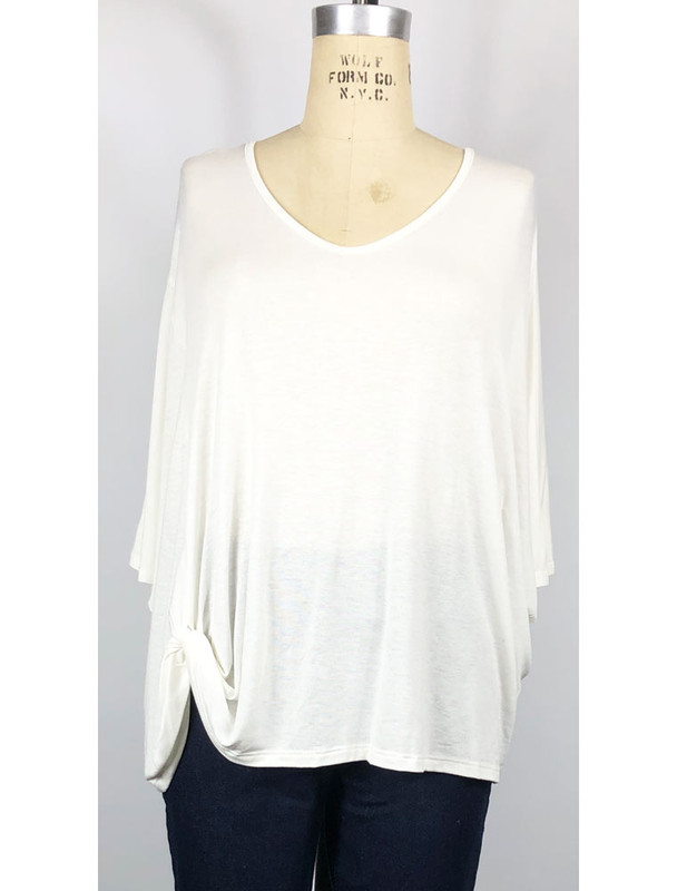 COA oversized top, side knot, front