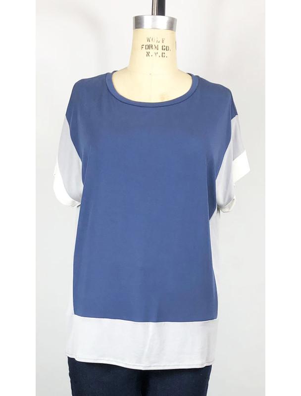 COA color block tshirt, navy, front