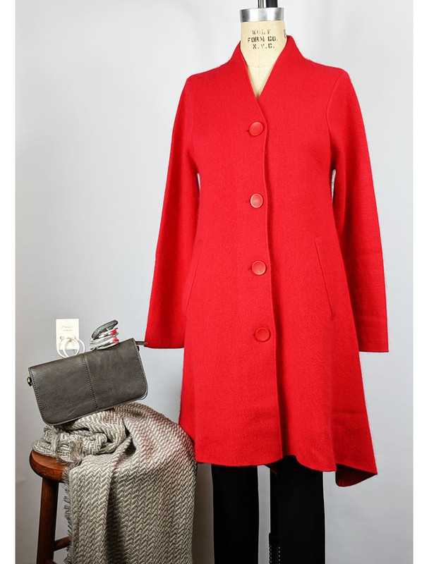 Venario red cashmere blend coat