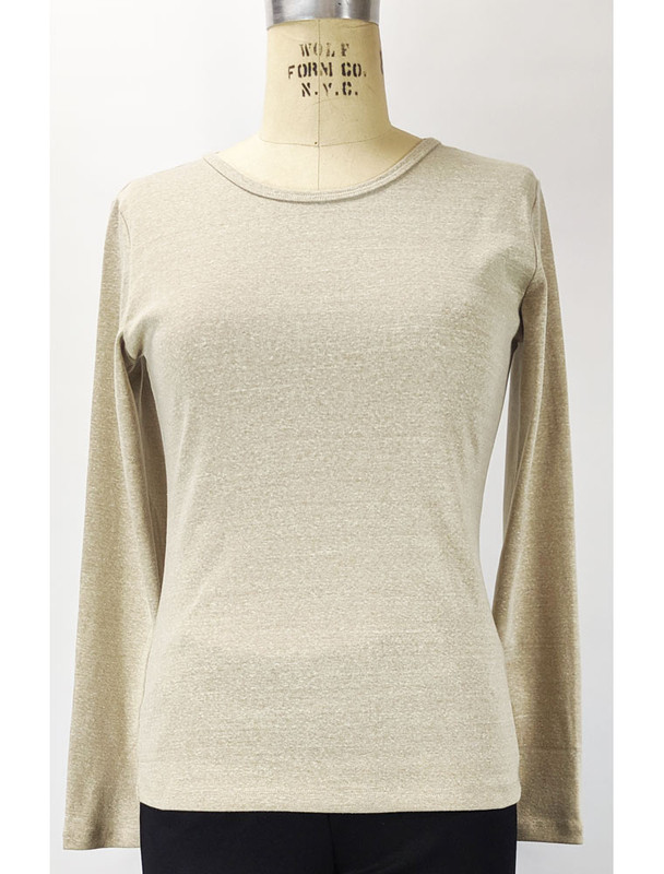 Front Necessitees Jewel neck long sleeve in Linen
