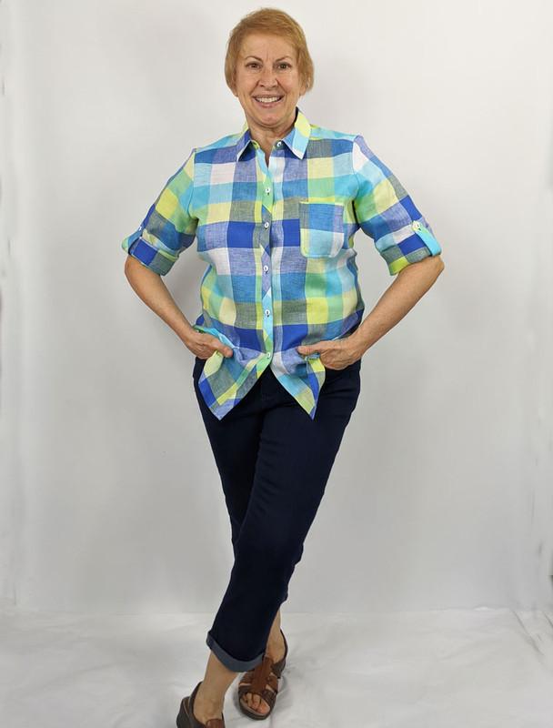 Model wearing size 10 on rectangle body.
