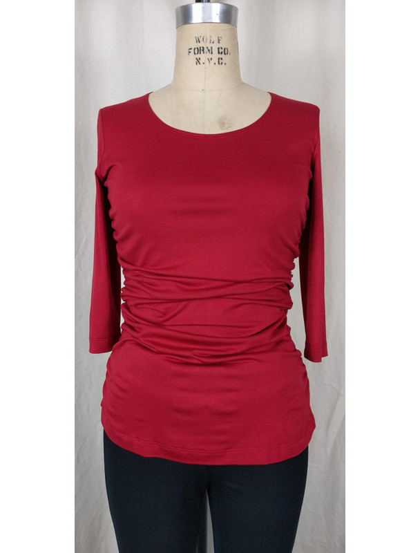 Rayon Jersey Rusched, Scoop Neck Top Red Front