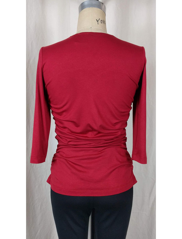 Rayon Jersey Rusched Scoop Neck Top Red Back