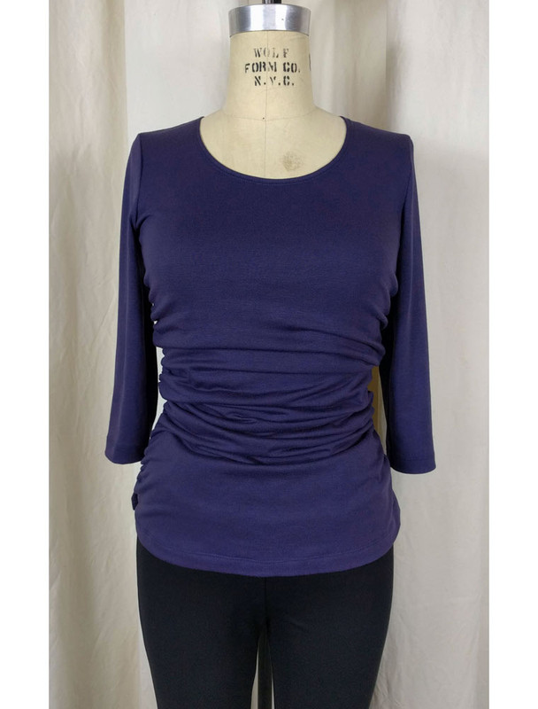 Rayon Jersey Rusched Scoop Neck Top Plum Front