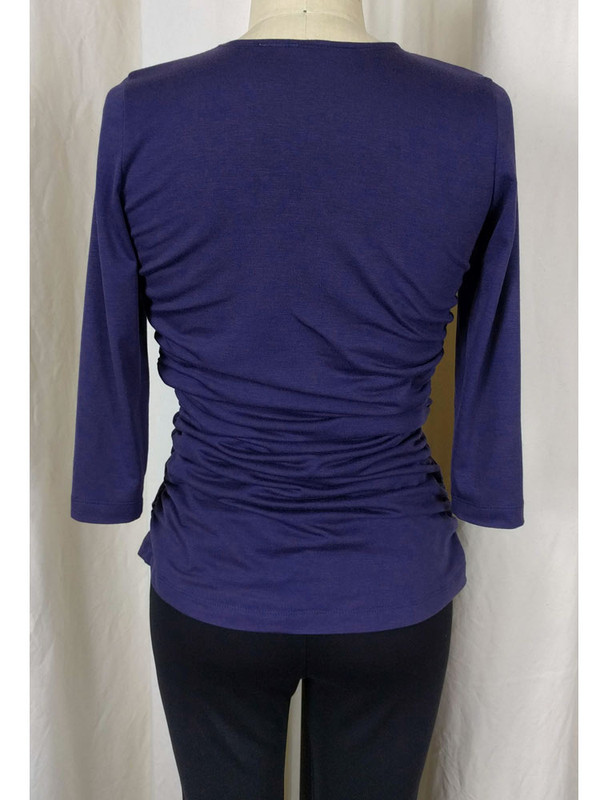 Rayon Jersey Rusched Scoop Neck Top Plum Back